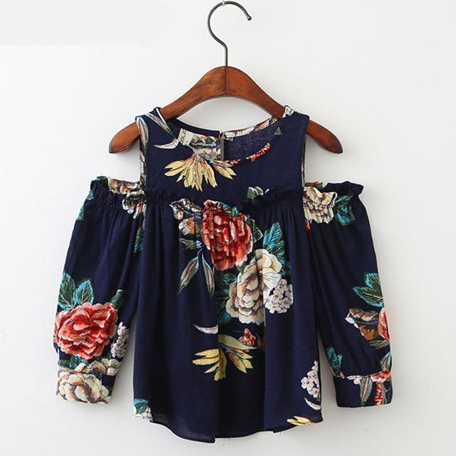 Autumn New Children Clothing Girl Clothes Flowers Printed Ears Strapless Girl Shirt Fashion Long-Sleeved Shirt
