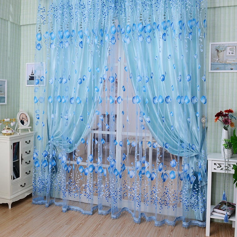 High Quality 1Pcs/Set Charm Tulip Flower Yarn Sheer Window Curtain Beads Tassel Door Scarf Drapes For Bedroom Decor 3 Colors