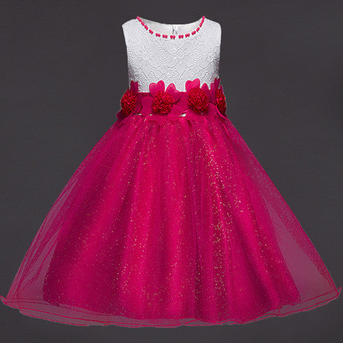 34b8331c3a9f1 Summer Flower Lace Girls Wedding Pageant Party Dresses Princess Formal Prom  Gowns Size 3-14 years 2018 New Kid girl clothes
