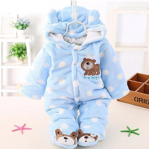 baby Plus velvet thicker coat winter clothing bodysuit newborn warm romper Snow Wear jumpsuits for girl cotton warm clothes coat