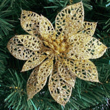 10Pc 6''(15cm) Glitter Hollow Artificial Flower for Children Birthday Party Decoration New Year Christmas Decor for Home Navidad