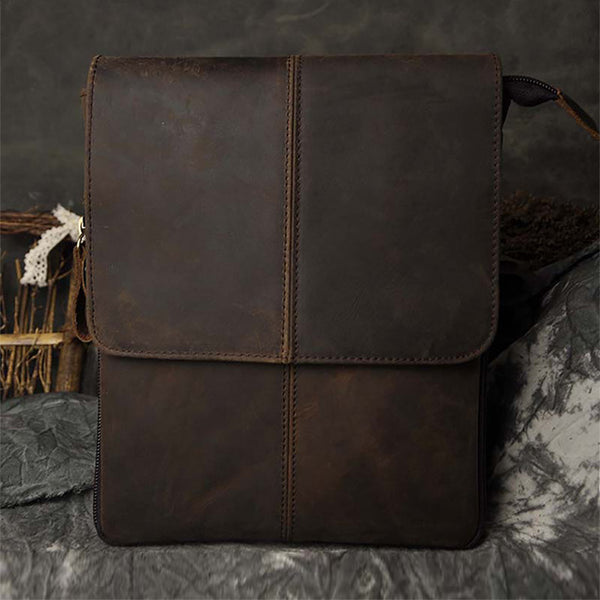 Crazy Horse/Oil Wax Genuine Leather Shoulder Bag For Men Casual Messenger Bags Male Hip Bum Loops Belt 9 Inch Fanny Waist Pack