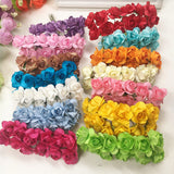 144 PCS / 2 cm artificial bouquets of roses paper flowers wedding decoration DIY wreath wreath collage artificial flowers