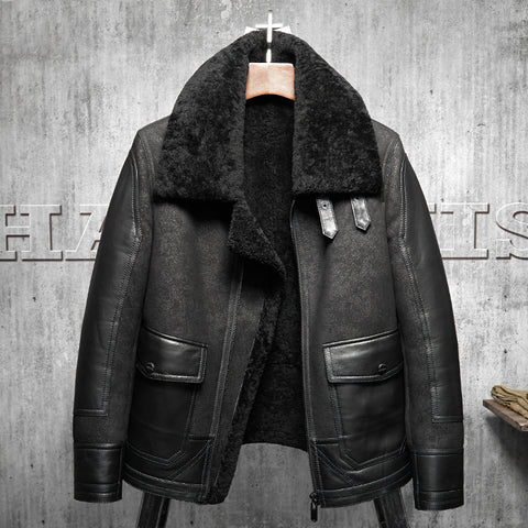 New Original Flying Jacket Black B3 Jacket Shearling Leather Jacket Men's Fur Coat Aviation Leathercraft Pilots Coat