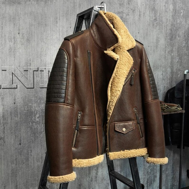 Dark Brown B3 Jacket Men S Shearling Leather Jacket Original Flying