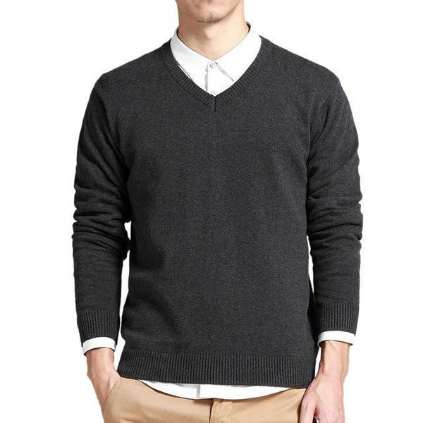 Cotton Sweater Men Long Sleeve Pullovers Outwear Man V-Neck sweaters Tops Loose Solid Fit Knitting Clothing 8Colors New