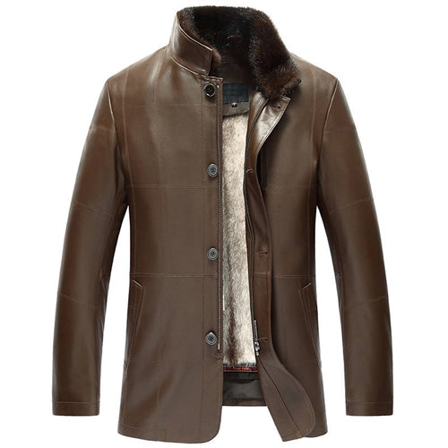 Men's Mink Fur Lined Lambskin Jacket Enhance Your Protection From Wind And Cold Luxe Genuine Fur coat for men TJ14