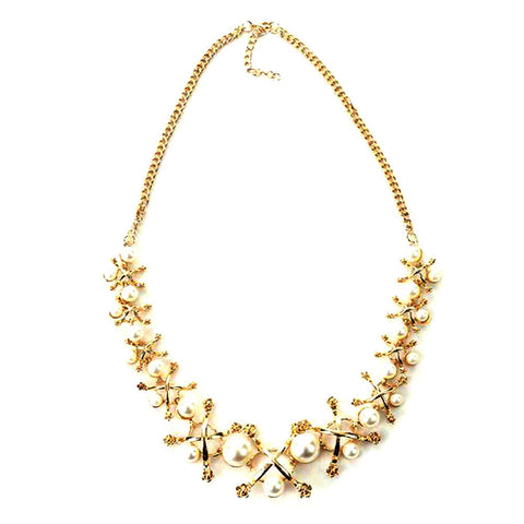 Women Jewelry Chain Pearl Metal Flower Sweater Chain Necklace Bib Necklace