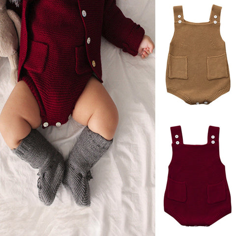 Newborn Baby Girls Solid Knitted Toddler Pocket Jumpsuit Clothes Bodysuit Outfit Sleeveless Baby Bodysuits Fashion Cute Winter