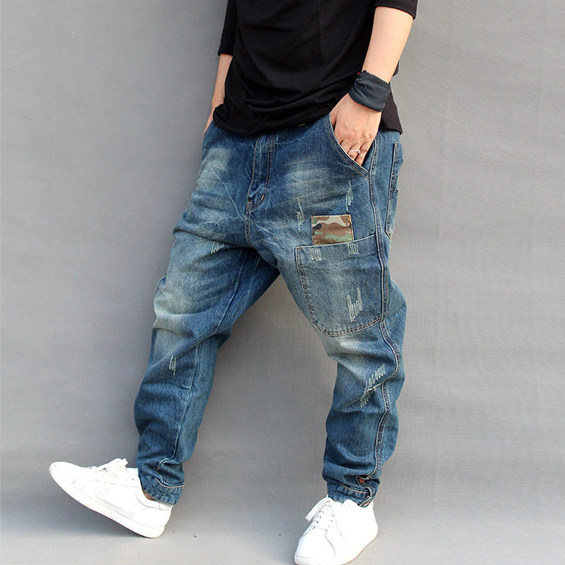 83ad82d471e ... BLUE HOLE RIPPED BAGGY JEANS MEN HIP HOP STREETWEAR SKATEBOARDER DENIM  PANTS MEN S LOOSE FIT PLUS ...