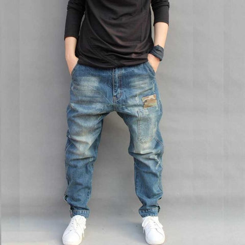 BLUE HOLE RIPPED BAGGY JEANS MEN HIP HOP STREETWEAR SKATEBOARDER DENIM PANTS MEN'S LOOSE FIT PLUS SIZE HIP HOP JEANS