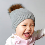 Winter Crochet Knitted Kids Cotton Beanies Hats Cap Toddler Boys Girls Children Kids Brand Real Fur Pom Pom Hat