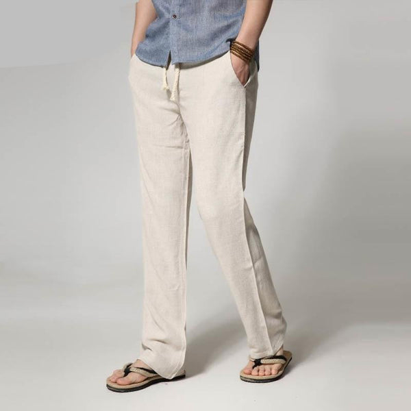 men's thin section loose straight men's linen casual pants summer large size solid color trousers 6 colors