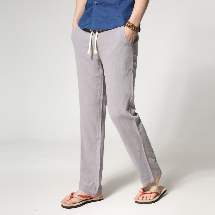 659439c4df1 ... men s thin section loose straight men s linen casual pants summer large  size solid color trousers ...