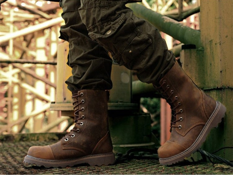 Genuine Leather Mens Round Toe Lace Up Mid-calf Martin Boots Work Safety Soldiers Ridding Boots Man Winter Snow Boots