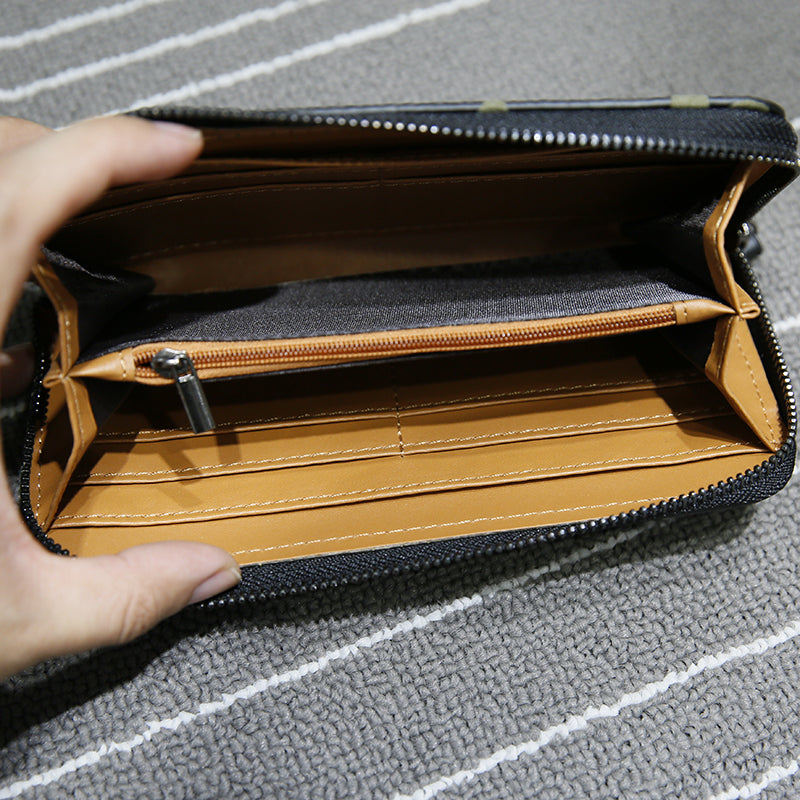 Men Wallets Zipper Design Mens Clutch Purse Hand Wallet Clutch Money Purse Wallet Large Capacity Long Card Holder