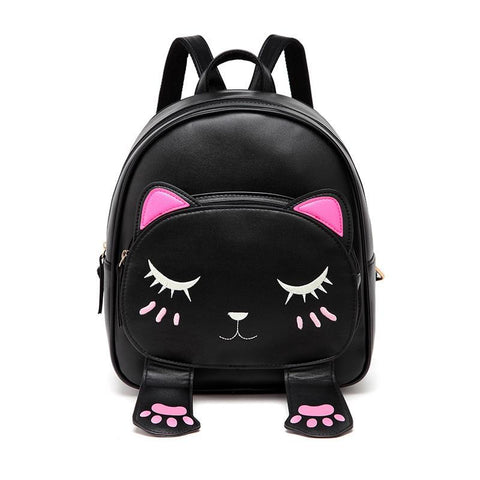 Cute Cat Backpacks for Girls Female Bag Small Backpacks for Teenagers Cartoon Women Backpack Black Beige Bagpack sac a dos