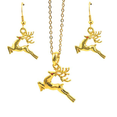 Christmas Deer Necklace Pendant Earrings