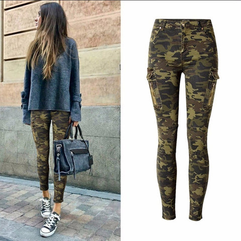 Military Jeans Women Skinny Camouflage Jeans Women Pencil Stretch Army Green Pants Zipper Jeans Female Plus Size