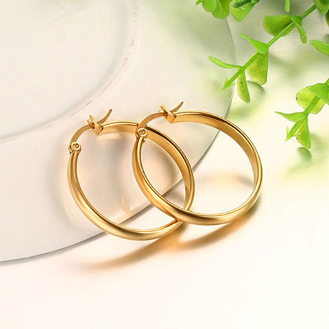 Elegant Earrings Fashion High Quality Round Stainless Steel Earrings