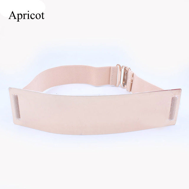 1PC New Fashion Sexy Women Elastic Mirror Metal Waist Belt Leather Metallic Bling Plate Wide Belt Party Clothing Accessory Hot