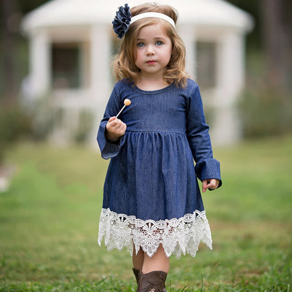 Girl Evening Dress Baby Girls Lace Princess Dress Children Clothes Kids Long Sleeve Denim Party Dresses Autumn Winter