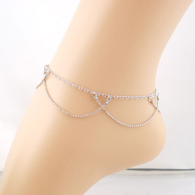 Double Curtain Chain Anklet Bracelet Sandal Barefoot Beach Foot Jewelry