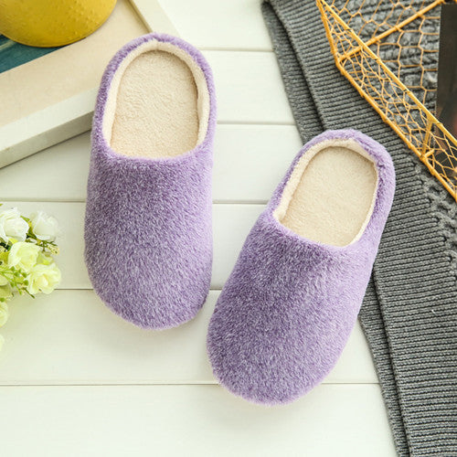 New Fashion Soft Sole Autumn Winter Warm Home Cotton Plush Slippers Women Indoor\ Floor Flat Shoes Girls Gift