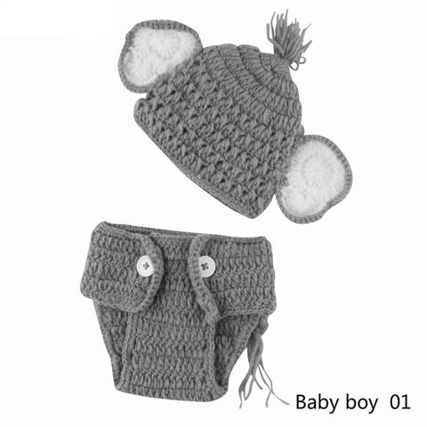 Newborn baby boys girls pant cotton Knit Crochet Elephant Hat & Briefs Set Photo Prop Outfits baby girl clothes tiny cottons