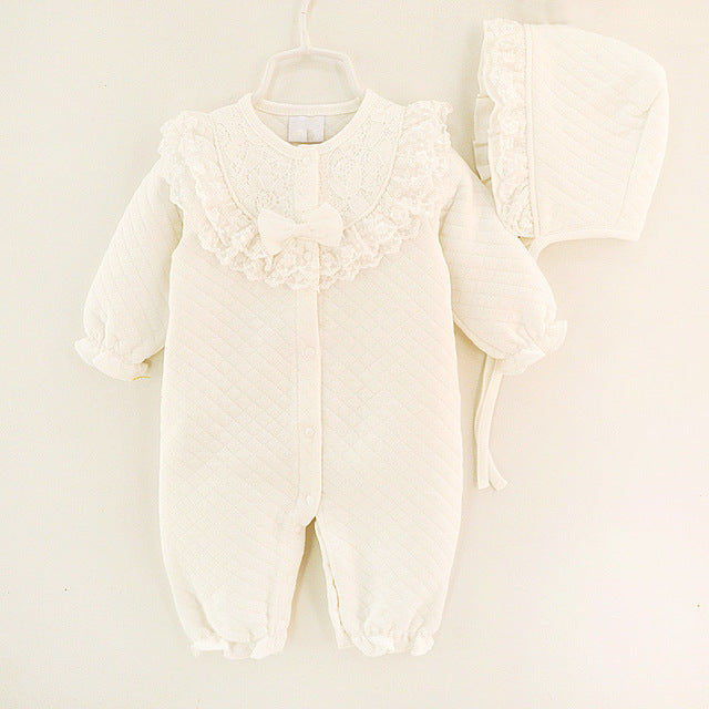 1341046060d JOHNKART.COM.  22.40 USD. Winter Newborn Baby Girl Clothes Cotton Thicken  Coveralls Rompers Princess Bow Girls Clothing ...