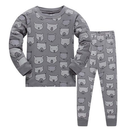Brand kids Pajamas Sets Cartoon animal pattern nightgown Children cotton Pyjamas girls boys lovely soft sleepwear clothes set