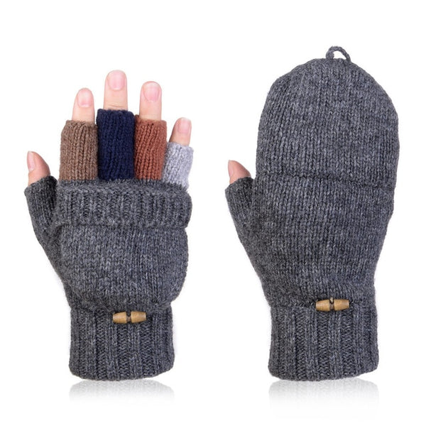 Unisex Wool Knitted Fold Back Gloves Winter Warm Mittens Convertible Gloves Winter Fingerless Half-finger Driving Gloves