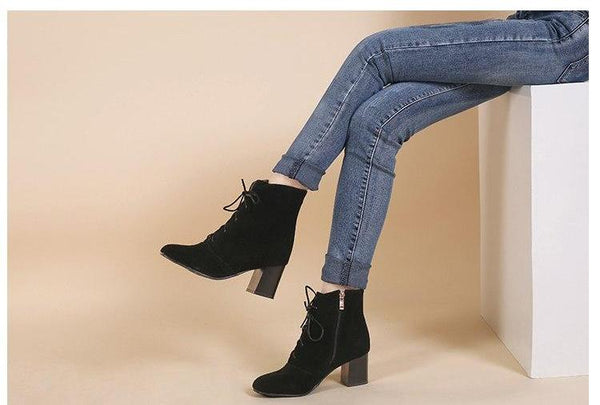 New Fashion Sexy Black Lace-up High Heels Boots Women Pointed Toe Autumn Winter Warm Ankle Shoes Leather Plus Size 34-46