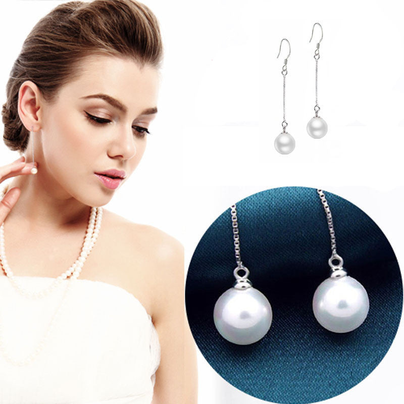 Women Noble Elegant Long Section Of Pearl Earrings Ear Wire