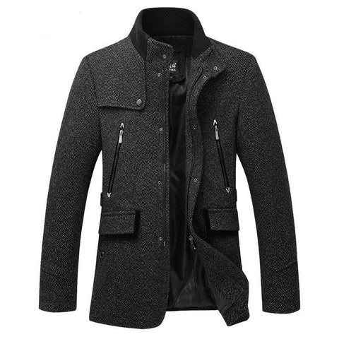 Stand Collar Duffle Coat Men Winter British Style Mens Cashmere Coat Zipper Trench Coat Men Brand Manteau Homme Overcoat