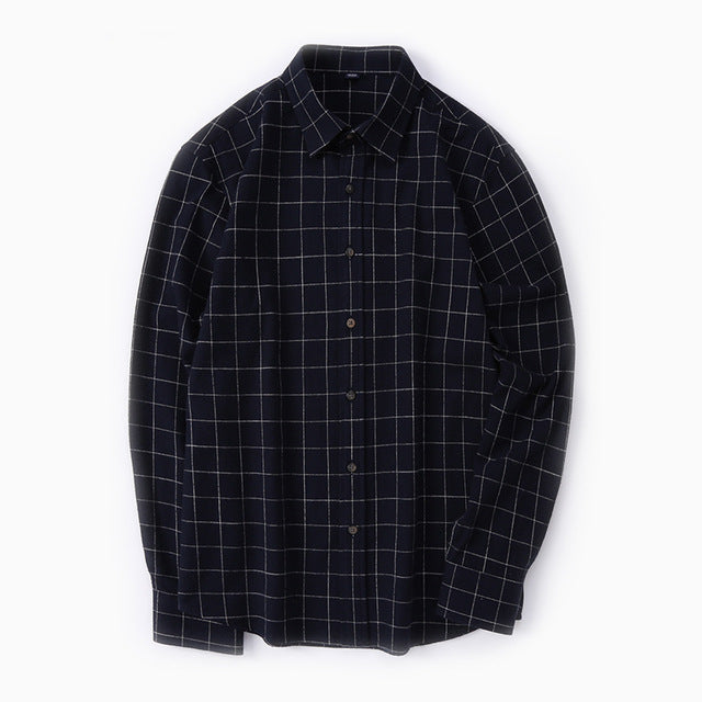 Autumn 100% Cotton Plaid Shirt Men Long Sleeve Casual Shirts Regular Fit England Stylish Men Clothing Flannel Shirt Male