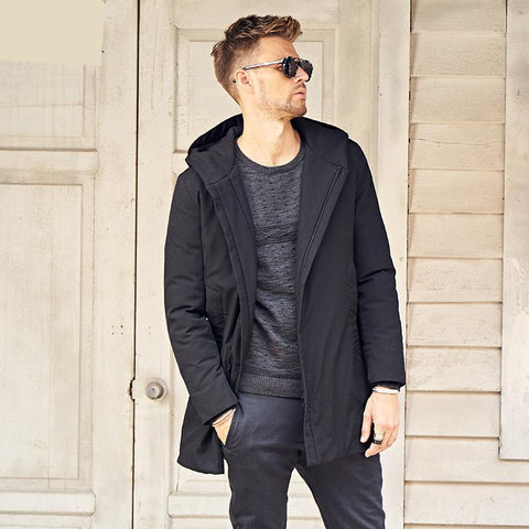 Padded Long Jacket Men Windproof hoodies Parka black solid Thick Quilted Coat Men plus size 3XL MF0625