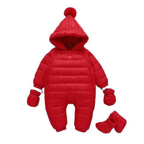 winter New Year Baby jumpsuits red christmas holiday feather down jackets for girls clothing with hooded baby boy rompers