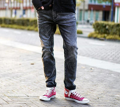 Autumn Winter New Scratched Jeans Men Classic Casual Jeans Denim Trousers Male Slim Fit Plus Size NC017016