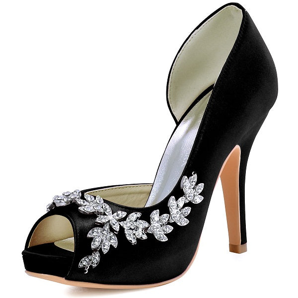 ba6eb9aba9abe8 ... Women Platform High Heels Bridal Wedding Shoes Ivory White Rhinestones  Peep toe Bride Bridesmaids Prom Pumps ...
