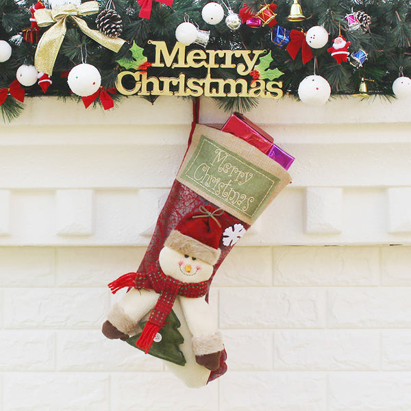 Christmas Stockings Sack Sock Gift Filler Snowman Xmas Decoration Decor Gift
