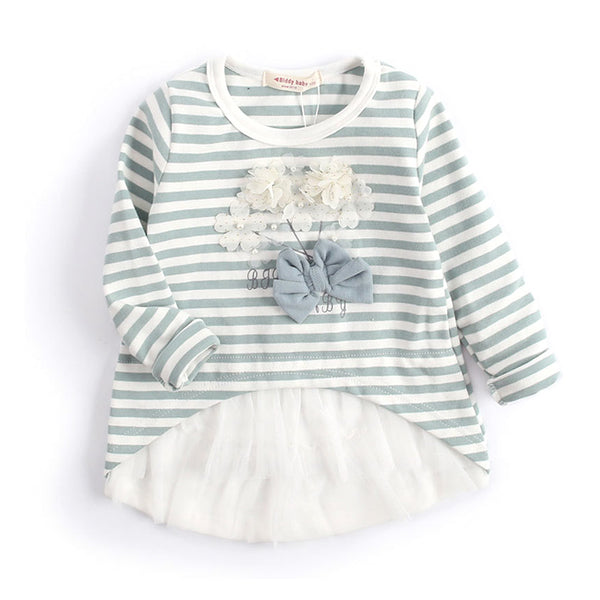 children girl top new baby girls clothes spring autumn striped kids clothes flower mesh girls t shirt size 3-9y DQ466