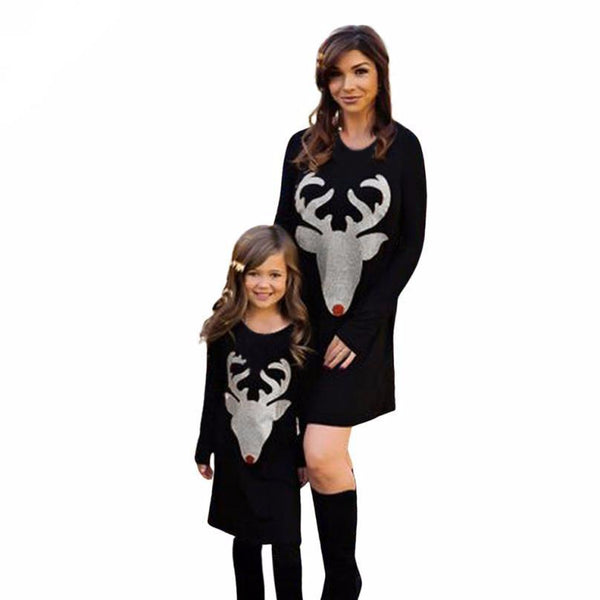 FEITONG Christmas Dress Mom & Me Girls Women Dress Deer Printed Long Sleeve Autumn Dress Family Outfits Straight Women Clothes#3