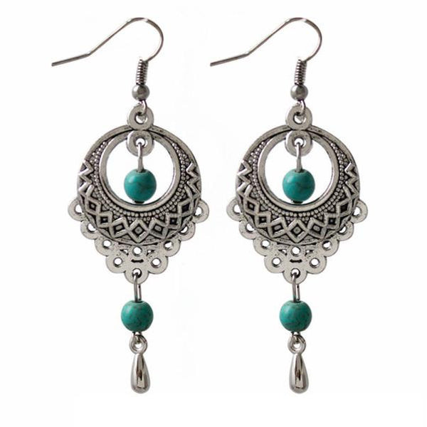 Silver Oval Turquoise Pendant Earrings