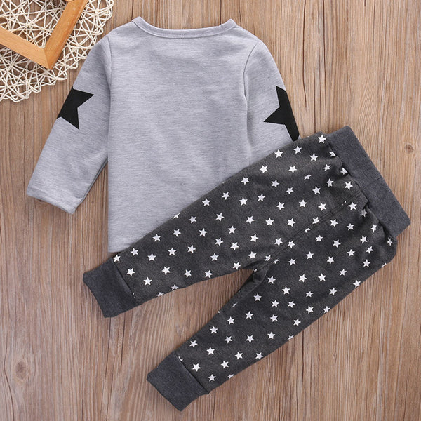 2PCS Warm Winter Clothing Sets Toddler Baby Boys Kids Long Sleeve T-shirt+Pants Outfits Set Tracksuit 1-6Y