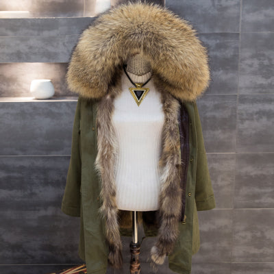 Winter Army Green Women Long Real Fox Fur Coat Raccoon Natural Fur Collar Hooded Thick Warm Parkas Jacket