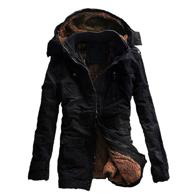 Winter Thick New Fashion Brand Men warm Fleece Hooded Jacket Coats Long Overcoat Cotton Jackets Mens Outerwear Parka Plus 5XL