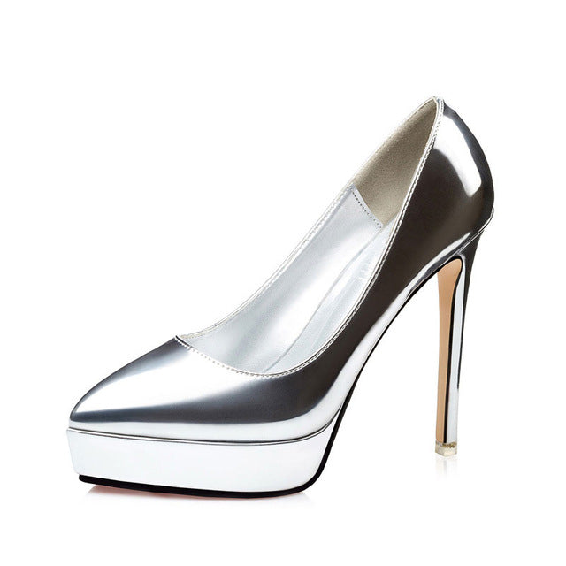 Extreme high heels shoes woman pump silver gold fine waterproof platform women shoes sexy leather wedding dress ladies shoes