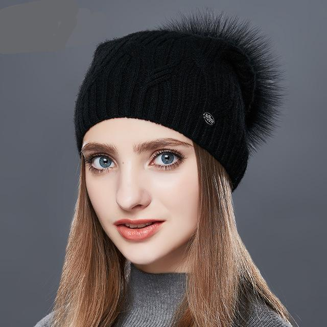 ee1169b9243 High Quality Cashmere Women Winter Hats Fashion Link Type Knitted Hat