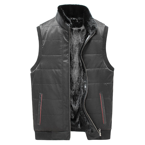 Black Leather Vest Men Shearling Sheepskin Coat Fashion Short Motorcycle Outerwear Genuine Leather Vest